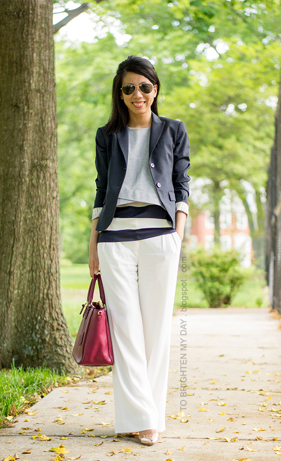 navy blazer, gray cropped vest, striped top, white trousers, purple-red tote, rose metallic wedges