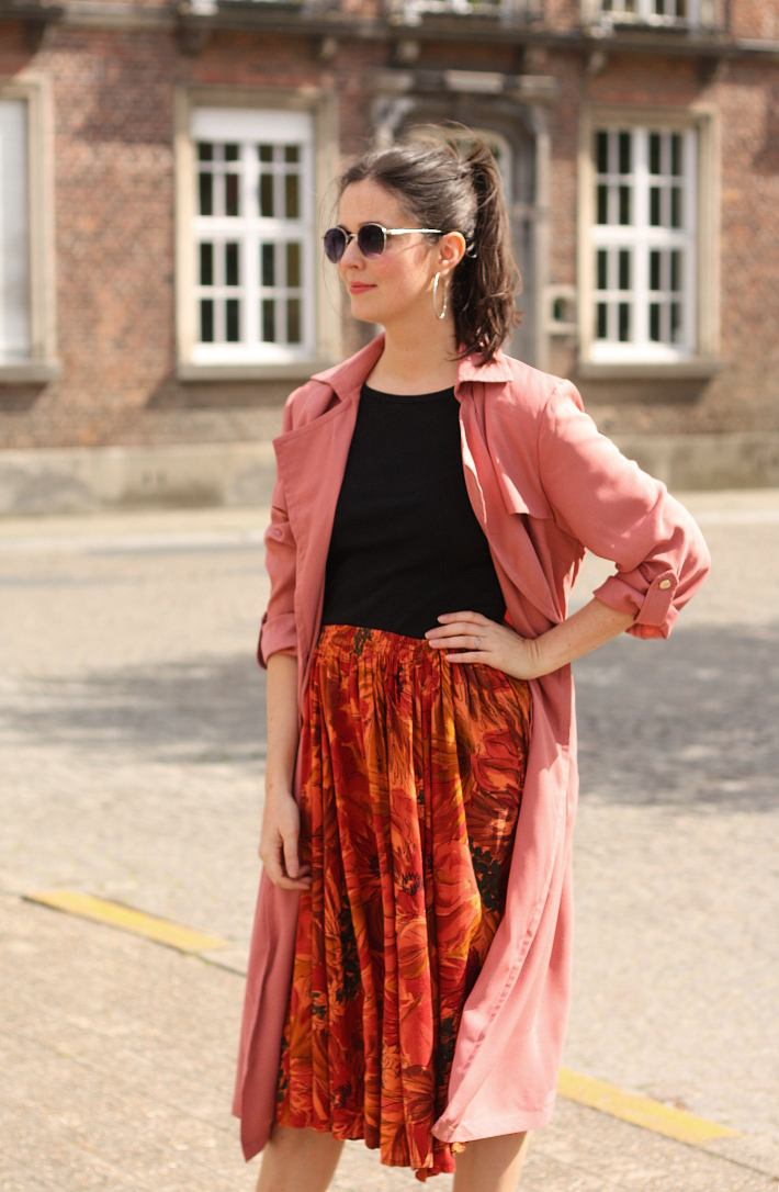 outfit: pink trench coat, vintage circle skirt