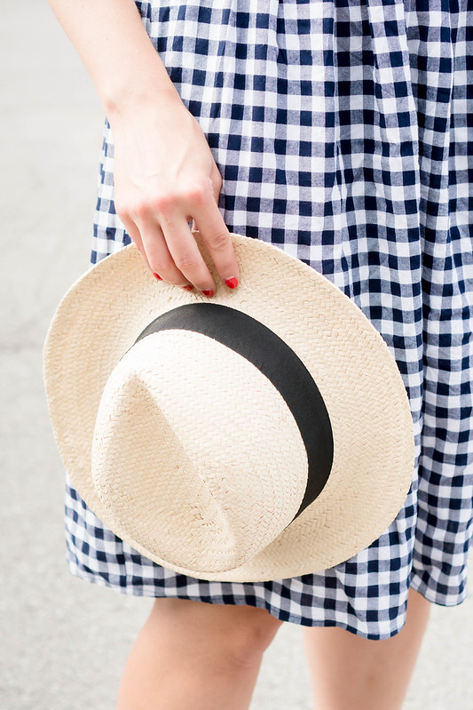 blue and white gingham dress + straw fedora + rope belt; casual summer outfit | Style On Target