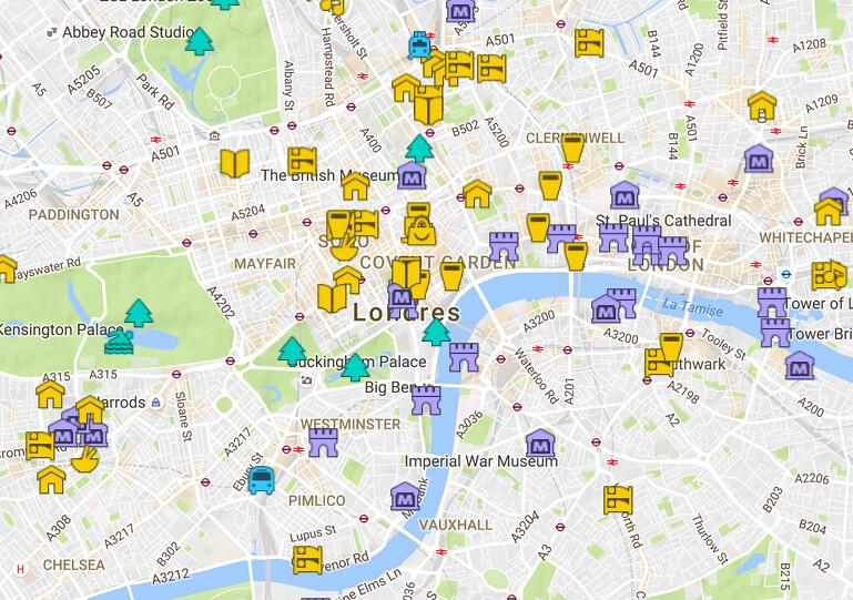 Carte détaillée de Londres avec tous les lieux du guide ⋆ Vanupied