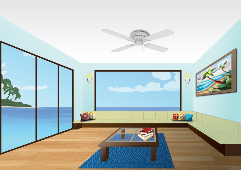 ... Beach House Living Room   Perspective Drawing | By Binsuy