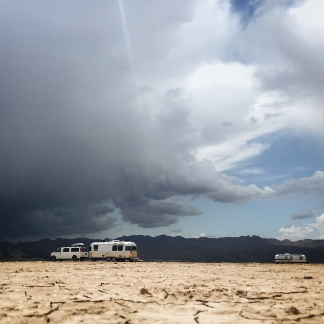 What do you do when you're boondocking on a dry lake bed and a scary rain cloud shows up?  your !