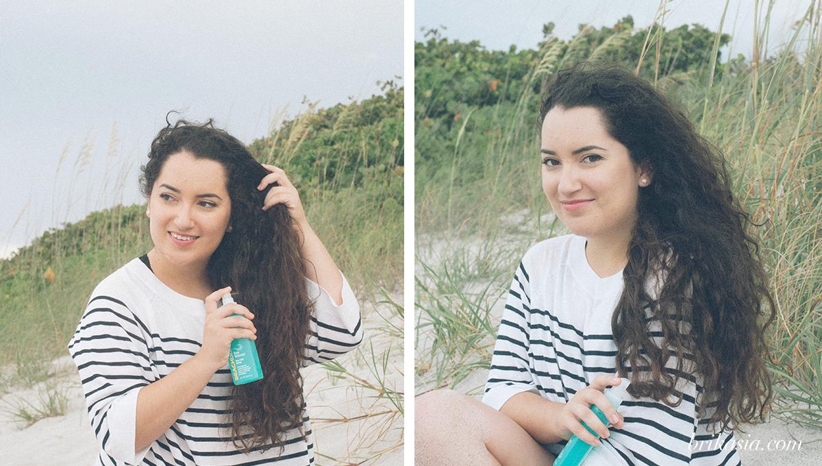 John Frieda Beach Blonde collection, beachblonde sea waves sea salt spray, cool dip purifying shampoo, smooth seas detangling conditioner, how to get easy beach waves for summer