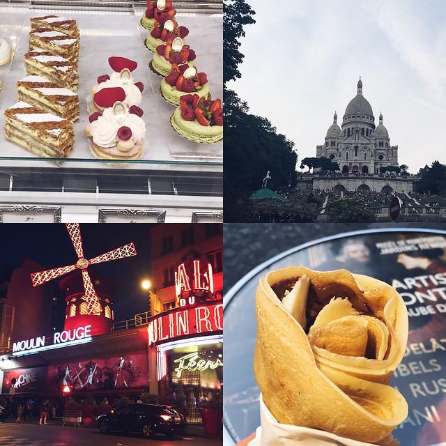 ranskalaisia leivonnaisia, french pastries, sweetness, sacre-coeur, church, paris, france, travel, montmartre, hill, kukkula, view, näkymä, the moulin rouge, pigalle, red mill, kabaree, cabaret, red light district, crepe, nutella banana, ym, pariisin matka, snapshots, matkat, loma, holiday, travelling,