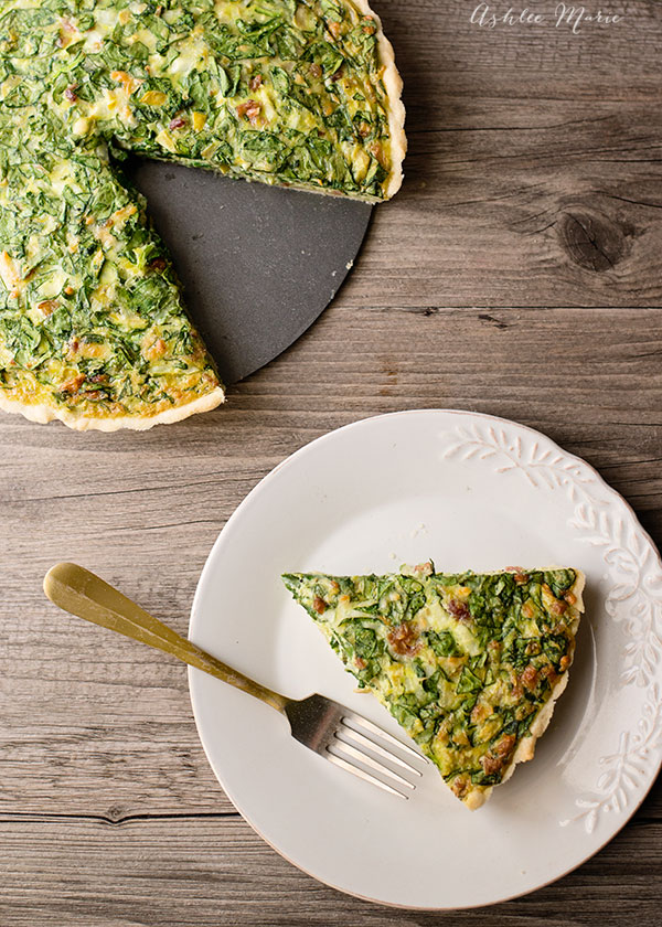 This quiche is easy to make and the taste is incredible, spinach, artichoke hearts, bacon and cheese