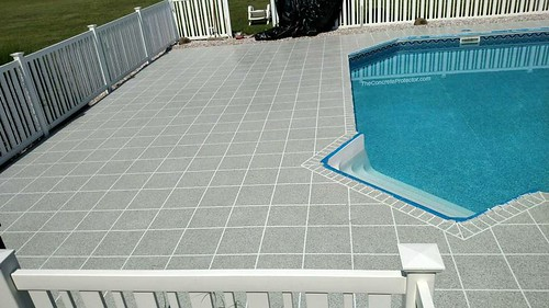 GraniFlex Flake Tile Pool Deck | by Decorative Concrete Kingdom