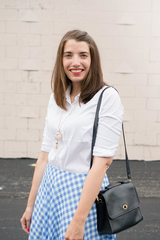white button down + gingham skirt + coach purse + yellow Sole Society heels | Style On Target blog