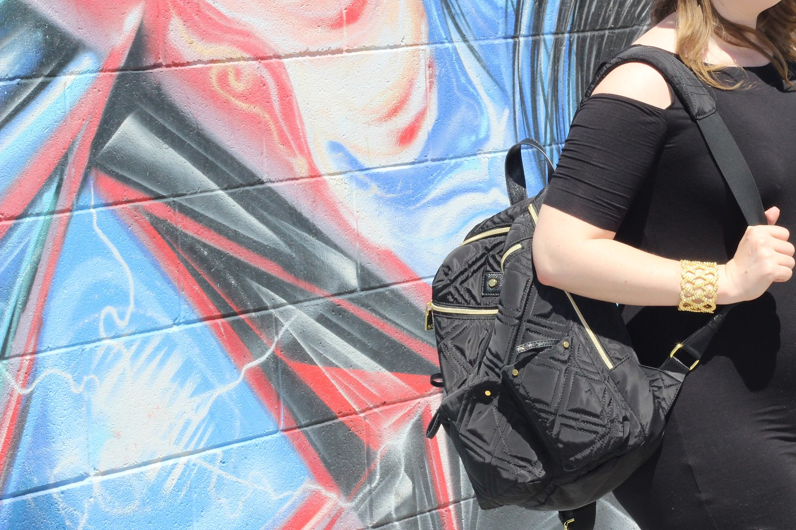 Adrienne Vittadini Black Quilted Backpack