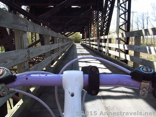 Crossing the Genesee River Bridge on the Lehigh Valley Trail, New York