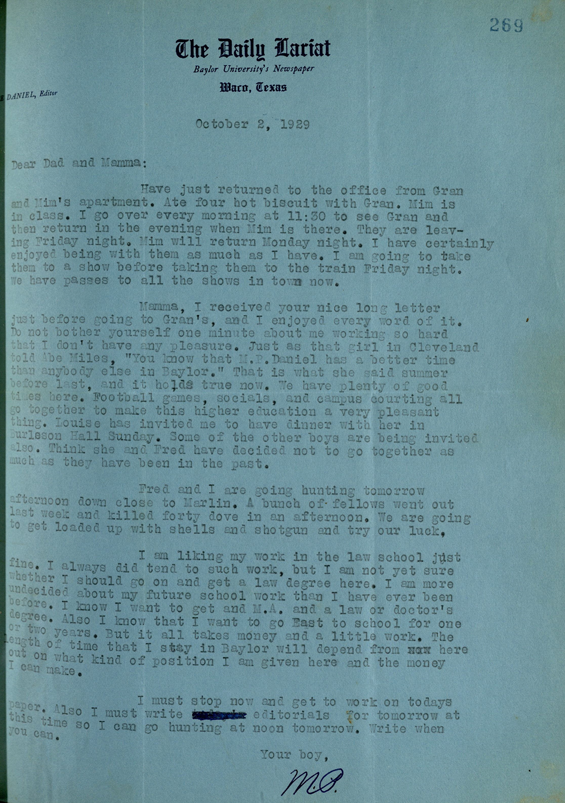 Letter from Price Daniel to M.P. Daniel, 1929