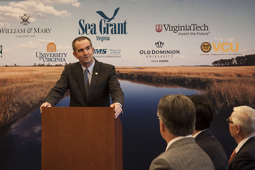 Lt Governor Ralph Northam discusses the critical role universities play in advancing the wellbeing of Virginia's coastal communities. ©Janet Krenn/VASG | by Virginia Sea Grant