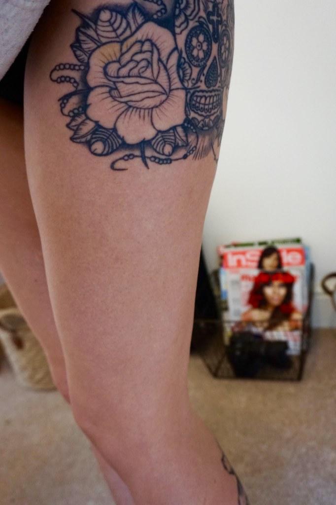 legs thigh tattoo rose tattoo
