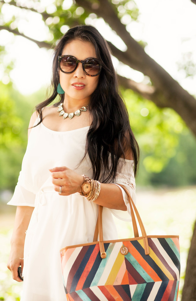 cute & little blog | petite fashion | cold shoulder crochet tassel white dress, rocksbox crystal statement necklace, turquoise earrings, jord cora rose gold wood watch, tory burch kerrington tote | spring summer outfit | little white dress #lwd