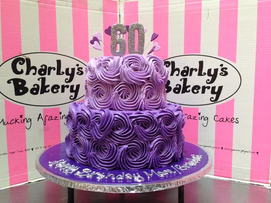 2 Tier Rose Swirl 60th Birthday Cake In Shades Of Purple W Flickr