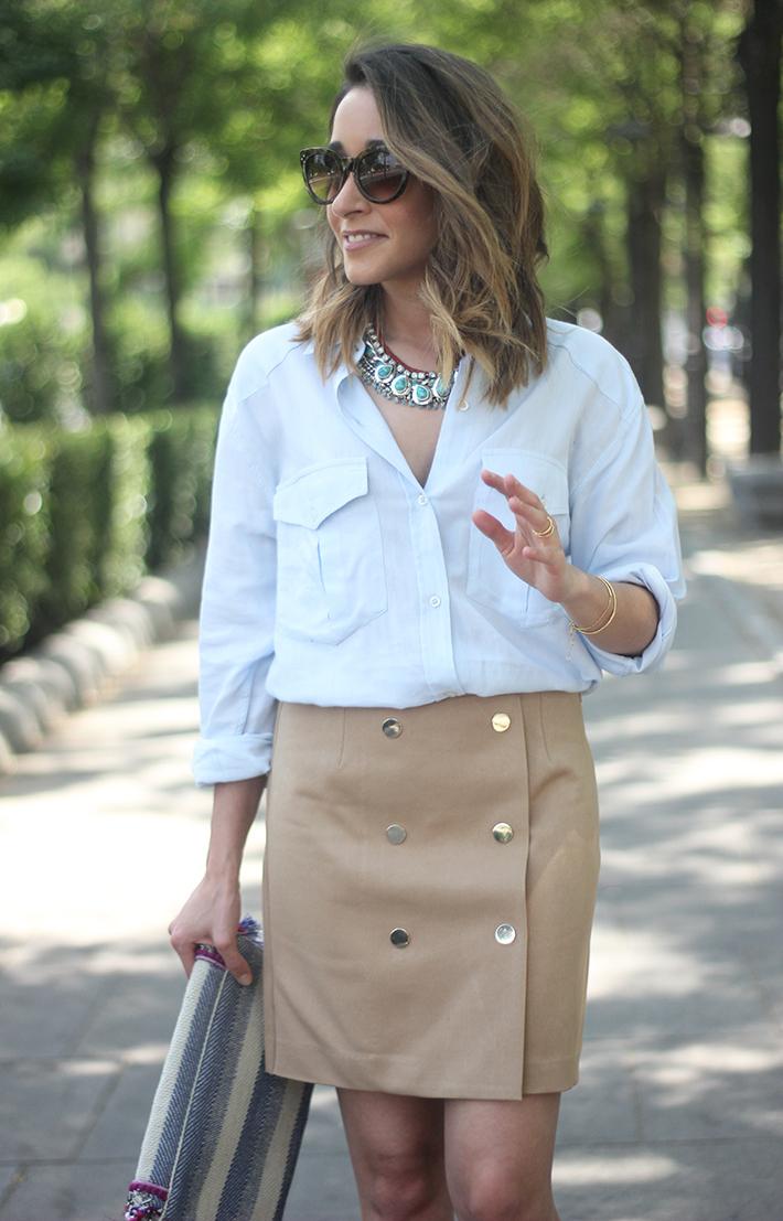 Beige Skirt With Blue Shirt07