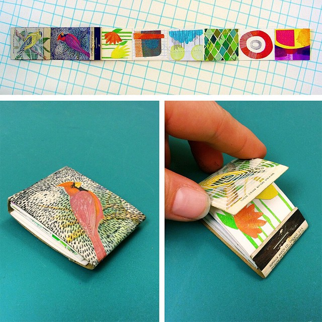 My contribution to the #strikeawayshow going on right now at Paxton Gate, a little accordion book in a matchbook cover. It was so fun to make! Thank you so much @ccerruti and @adorndesign for all your hard work organizing the show! #littleartbook