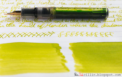 J Herbin Vert Pre text shading with Kaweco