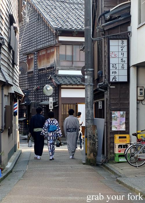 Kimonos and yukata in Higashi Chaya, Kanazawa