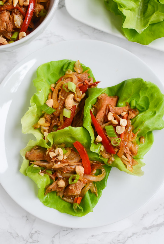 Mu Shu Pork Lettuce Wraps - skip takeout and make this healthy homemade version! Pork and veggies in a delicious slightly sweet, slightly spicy sauce!