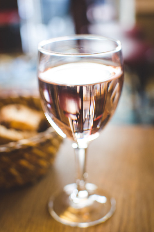 A refreshing glass of rose complemented a Prixe Fixe lunch at Cafe Constant in Paris, France.
