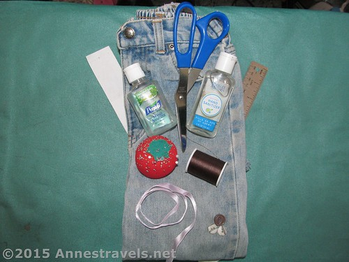 Materials to make your own adjustable hand sanitizer bottle holder