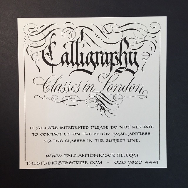London calligraphy classes studio introduction te