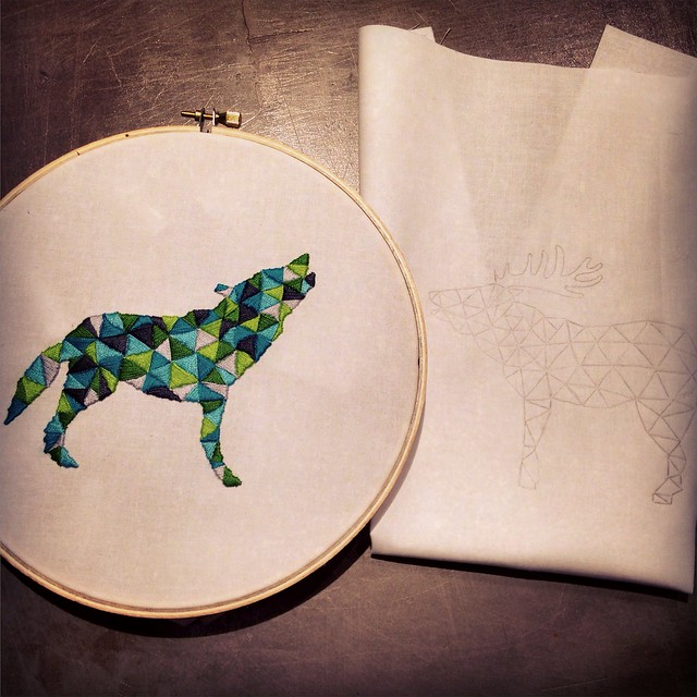 Wolf and Stag Embroidery