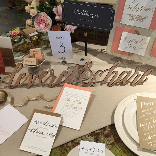 The @leverethare table is all set up at the BHLDN / Anthro bridal show in Chestnut Hill. Come say hi and see lots of beautiful wedding goodies! 5-8 tonight!!