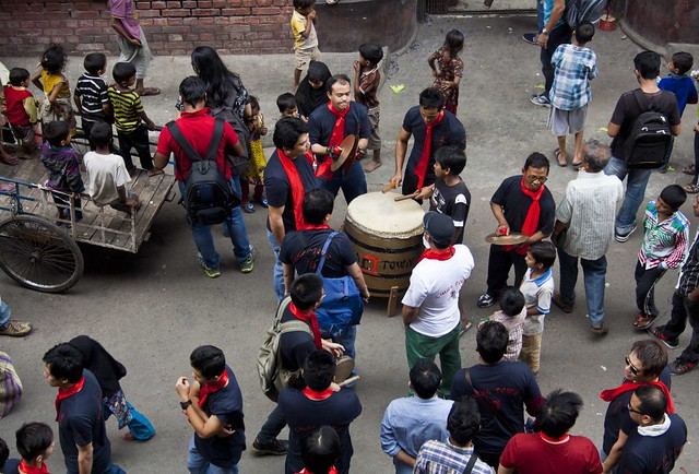 Playing Drums - Chinese New Year 2015, Kolkata, India