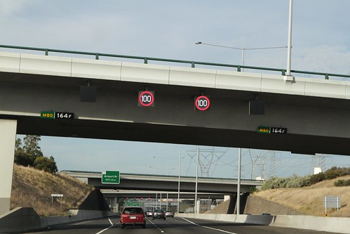 Northbound on the Western Ring Road at the Calder Freeway