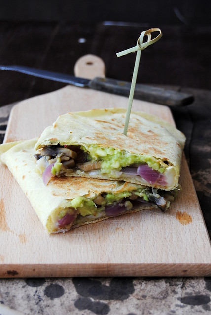 Quesadillas with caramelized onion, mushrooms and avocado