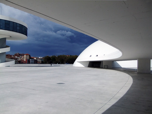 The modern architecture of Centro Niemeyer, a Modern Art Gallery in Aviles, Spain