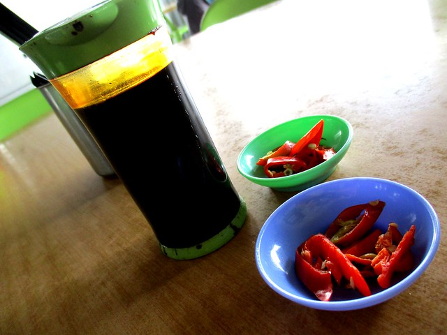 Chili and soy sauce