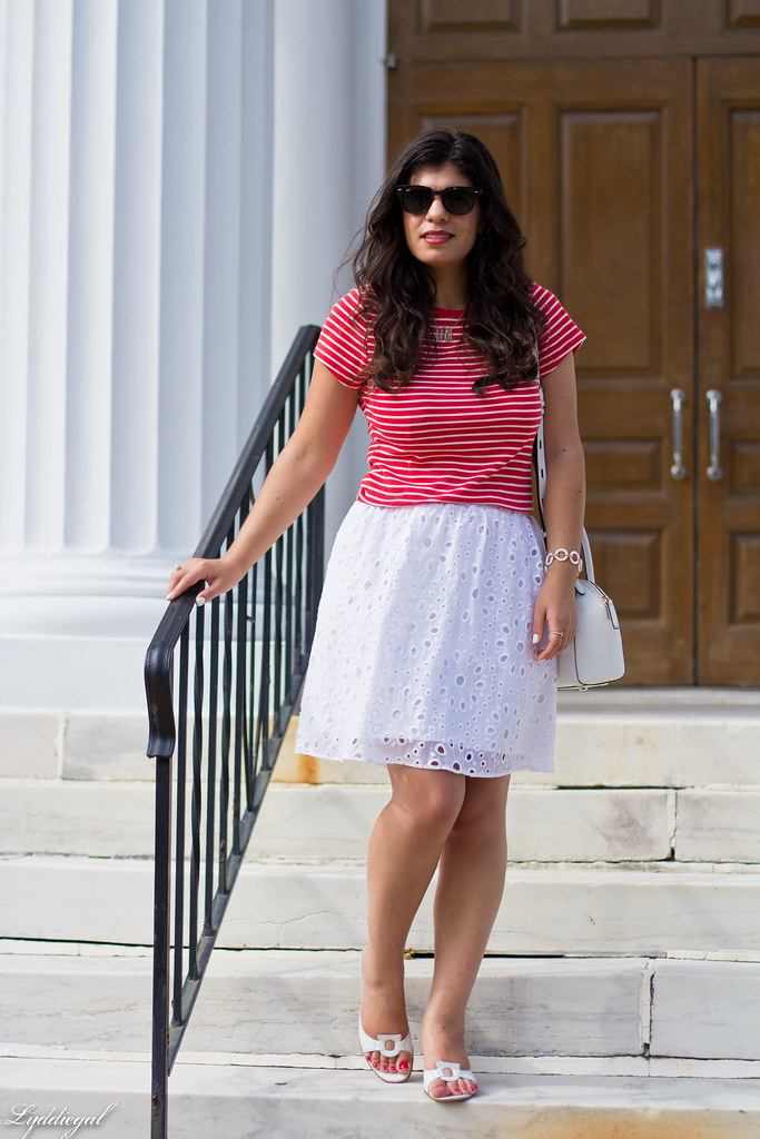 striped shirt, white eyelet lace skirt, ferragamo sandals-6.jpg