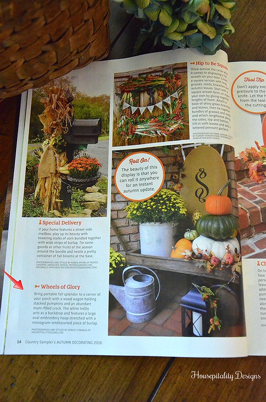 Country Sampler's Magazine Feature/Sept 2016 -Housepitality Designs