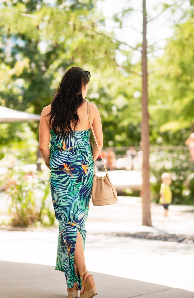 cute & little blog | petite fashion | express tropical print strapless maxi, nieman marcus bucket bag, jessica simpson allyn nude espadrille wedges | spring summer outfit