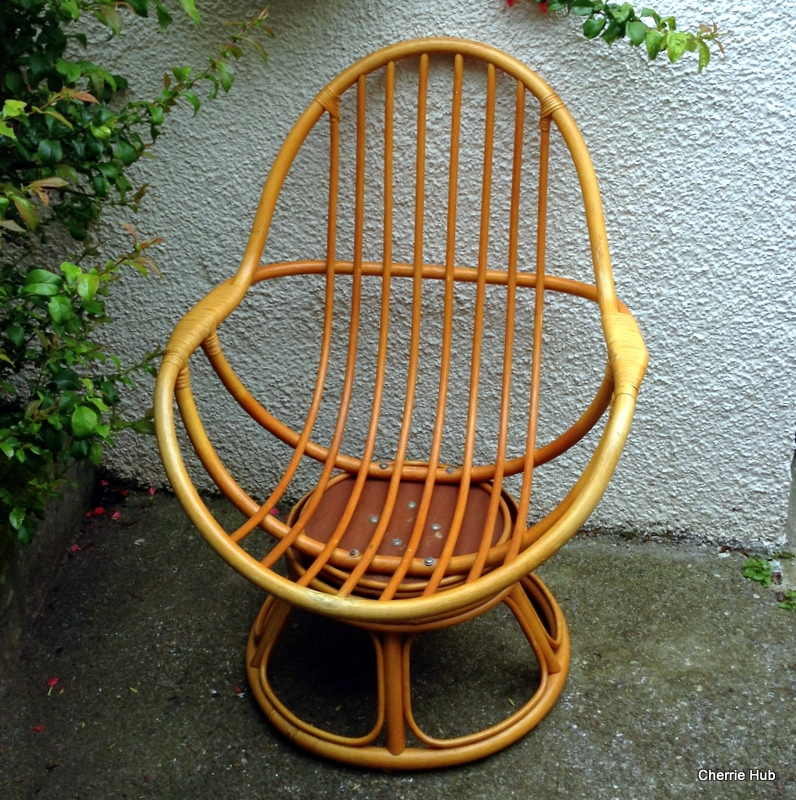 Retro egg chair vintage pod chair swivel bamboo egg chair ebay - Egg chair vintage ...