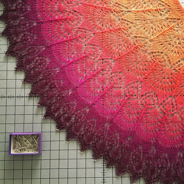 Blocking... #knitting #laceknitting #shawlknitting #gradientknitting