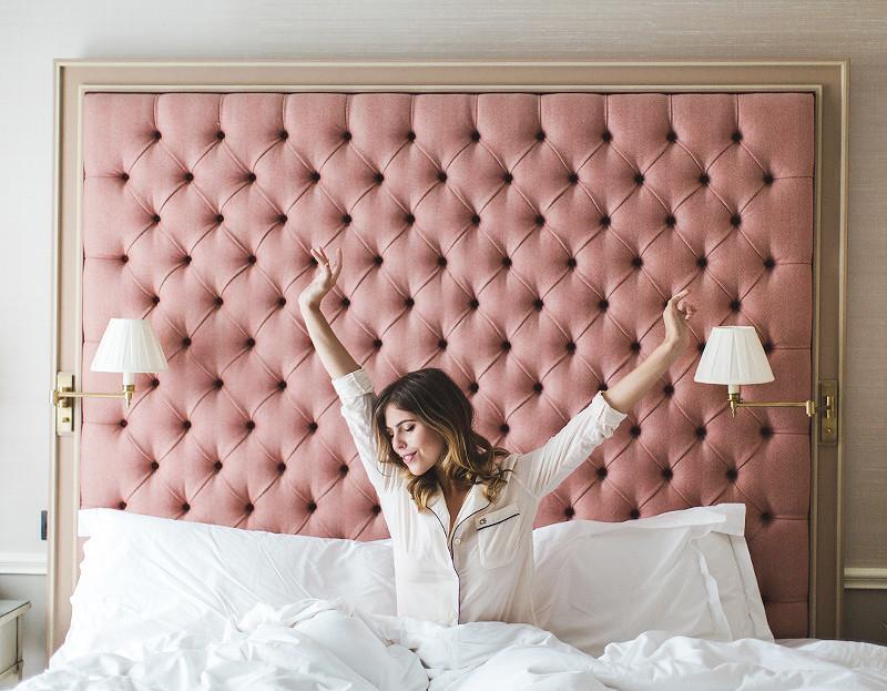 Hotel bed pink headboard