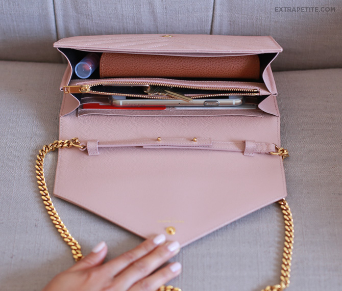 YSL clutch pink whats in my bag