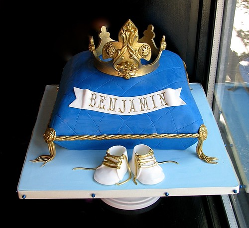 Baby Shower Cake Boy Blue And Gold