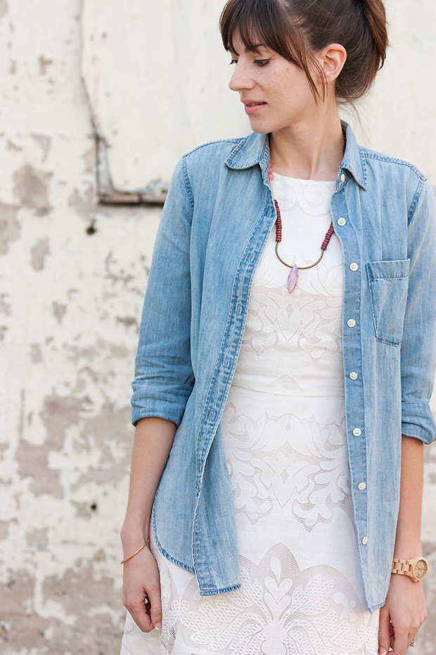 History and Industry Necklace, Chambray Shirt, White Lace Dress