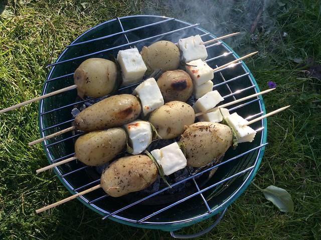 New potato and halloumi kebabs