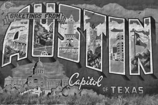 Austin - Austin mural bw