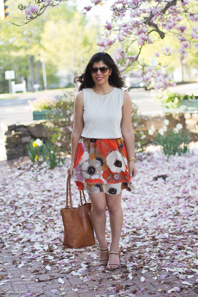 orange floral skirt, cream beaded top, leather tote-2.jpg