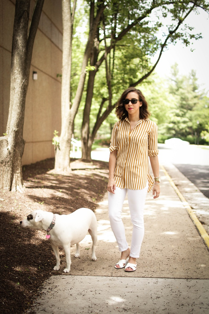 aviza style. a viza style. andrea viza. fashion blogger. dc blogger. spring style. white denim. verticle stripe silk top. white slides sandals. 5
