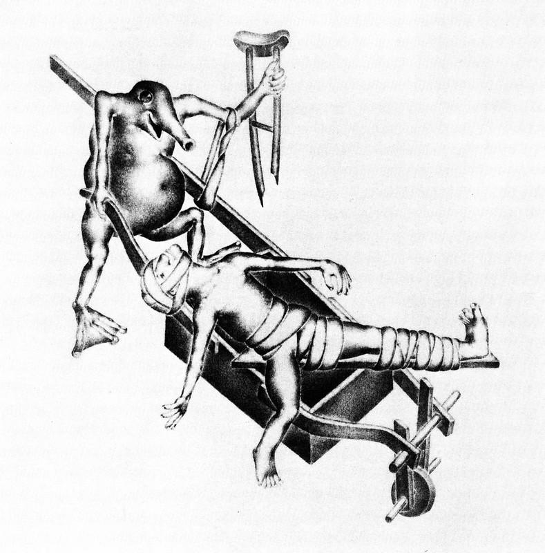 Otto Neumann - Grotesque 5 - Man with Broken Leg in Wheelbarrow, 1920-22