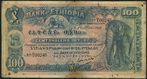 Bank of Ethiopia, 100 thalers 1932