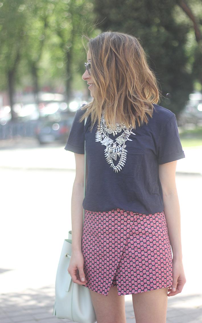 Shorts, Pink, Blue, Uterqüe, Heels, 11