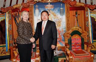 Hillary Clinton with President Elbegdorj Tsakhia